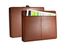 tan leather accordion file folder