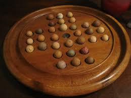 Game With Wooden Board And Marbles Antique 100s Hand Turned Solitaire Game Board with Antique Clay 22