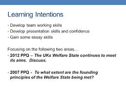 aims founding principles of the welfare state ppt 2 learning intentions