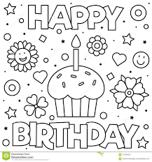 Happy birthday color pages are a great way to let your kid experiment with different designs and images. Happy Birthday Coloring Pages Unique Coloring Page Vector Illustration Stoc Happy Birthday Coloring Pages Free Printable Birthday Cards Birthday Coloring Pages