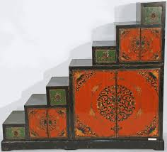 asian themed furniture. antique tansu step cabinet vintage or handpainted in the tibetan style asian themed furniture v