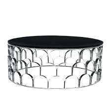 silver round coffee table glass