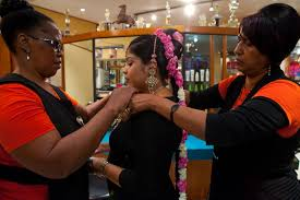 <b>Shirley Naidoo</b> (far right) at work at her Hair Sensations Salon in Durban, <b>...</b> - Jen