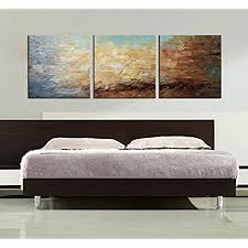artland modern 100 hand painted framed abstract oil painting peaceful lake 3 piece gallery wrapped wall art on canvas ready to hang for living roomfor  on wall art pieces decorating with 3 piece wall art amazon