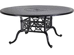 gensun grand terrace cast aluminum 66 round dining table with umbrella hole