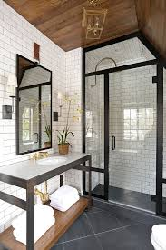 gray bathroom designs. Bathroom With White Subway Tile Walls, Rustic Stained Wood Ceiling, Black Accents French Country Club Tudor By Summer Thornton Design Gray Designs
