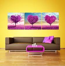 3 pe a moderne mur de l huile peinture amour arbre purple home