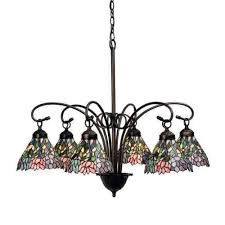 meyda lighting 18720 wisteria tiffany style 6 lt stained glass chandelier 30 w