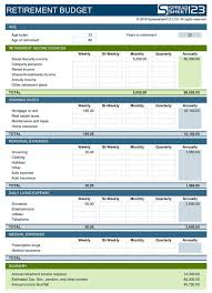 Excel Retirement Calculator Spreadsheet Retirement Budget Planner Free Template For Excel