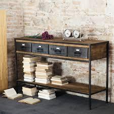 black sofa table. Black Metal Industrial Console Table. Manufacture Sofa Table E