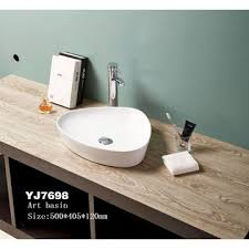 china 7698 ceramic bathroom triangle square thin edge countertop water fountain sink without faucet hole