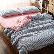 details about blue striped cotton jersey knit duvet covers king queen full pink fitted sheet