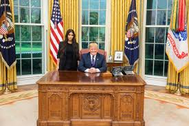 the white house oval office. US President Donald Trump Poses With Kim Kardashian In The Oval Office, May 30, White House Office