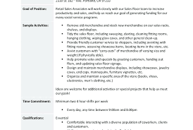 Resume Job Duties Examples Retail Sales Associate Job Resume Charming Description Examples 70