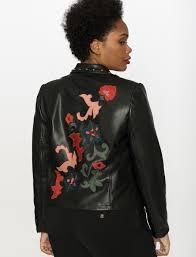 studio applique faux leather moto jacket