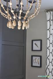 Diy Bead Chandelier Remodelaholic Home Office Makeover With Diy Wood Bead Chandelier