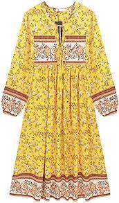 R.Vivimos Women's Long Sleeve Floral Print Retro V ... - Amazon.com