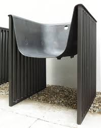 we used the same color code as in the l rdx a bench that recycles an old elevator door and b rdx ions
