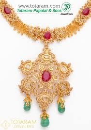 22k gold uncut diamond necklace drop earrings set with ruby beads 235