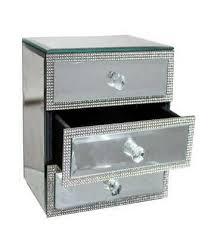 3 drawer mirrored diamante jewellery