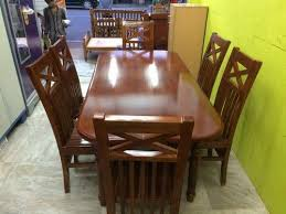 teak wood dining table set with 6 chairs
