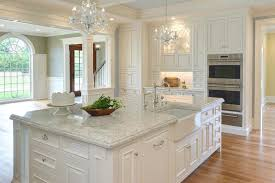 image of white sparkle quartz countertops island