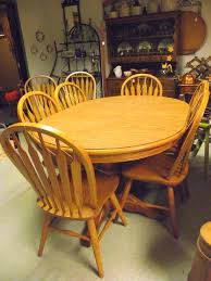 dinaire solid oak dining room set double pedestal table 8 chairs 3 leaves made in buffalo ny