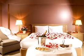 Bedroom Romance Decoration With Lamos Flowers And Heart Shape Design