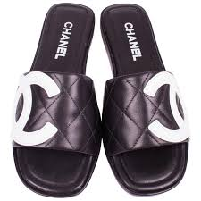 chanel slides. chanel quilted cambon slide sandals - black \u0026 white leather 1 slides t