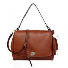 Coach Turnlock Medium Brown Shoulder Bags AYS