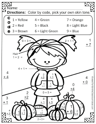 Coloring Pages Math Worksheets Basic Addition Facts Color Your ...