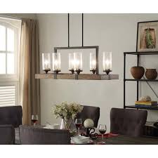wood ceiling lighting. Vineyard Metal And Wood 6-Light Chandelier With Seeded Glass Shades Ceiling Lighting