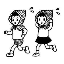 防災頭巾防災の日秋の行事学校無料白黒イラスト素材