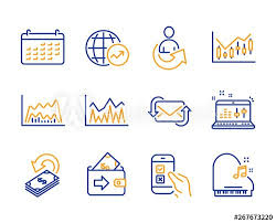 Statistics Symbols Chart Mobile Survey Investment And Share Icons Simple Set Sound