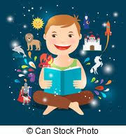 cartoon kid reading fairy tale book cartoon kid reading fairy tale book happy boy with an open book vector ilration
