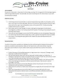 Bartending Responsibilities For A Resume Bartender Responsibilities