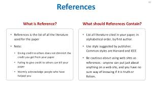 who to list as a reference list references term paper
