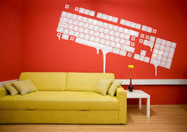 office wall paint ideas. Others,Beauty Impressive Interior Decorating Ideas With Red Wall Paint And Unique Keyboard Decal, Near The Perfect Yellow Sofa,Brilliant Office A