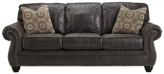 benchcraft breville faux leather sofa with rolled arms and