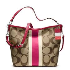 Lyst - Coach Hamptons Weekend Signature Stripe Shoulder Bag in Pink
