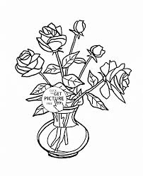 Small Picture Bouquet of Roses in Vase coloring page for kids flower coloring
