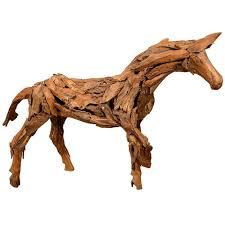 vintage folk art handmade wooden horse sculpture for