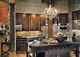 Interior:Vintage Rustic Kitchen Interior Design With Reclaimed Wooden Table  And Complete With Crystal Chandelier