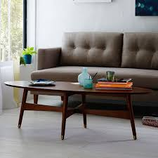 lovable mid century modern coffee tables with reeve mid century oval coffee table pecan west elm