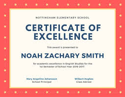 Award Of Excellence Certificate Template Amazing Starry Excellence Certificate Templates By Canva