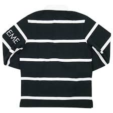 supreme shupurimu 16 aw striped rugby border pattern rugby long sleeve shirt black white