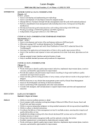 Clinical Data Coordinator Resume Samples Velvet Jobs
