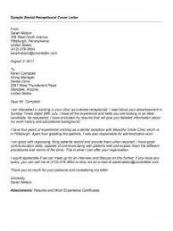 Dental Receptionist Cover Letter Dental Receptionist Cover Letters Under Fontanacountryinn Com