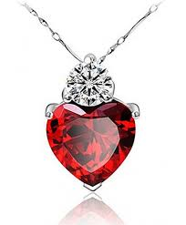 tyjewelry 14k gold plated crystal heart shape pendant necklaces for women red 18 ce11qtoxthj