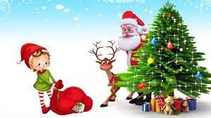 Christmas Postcard Santa Claus Deer Christmas Tree With